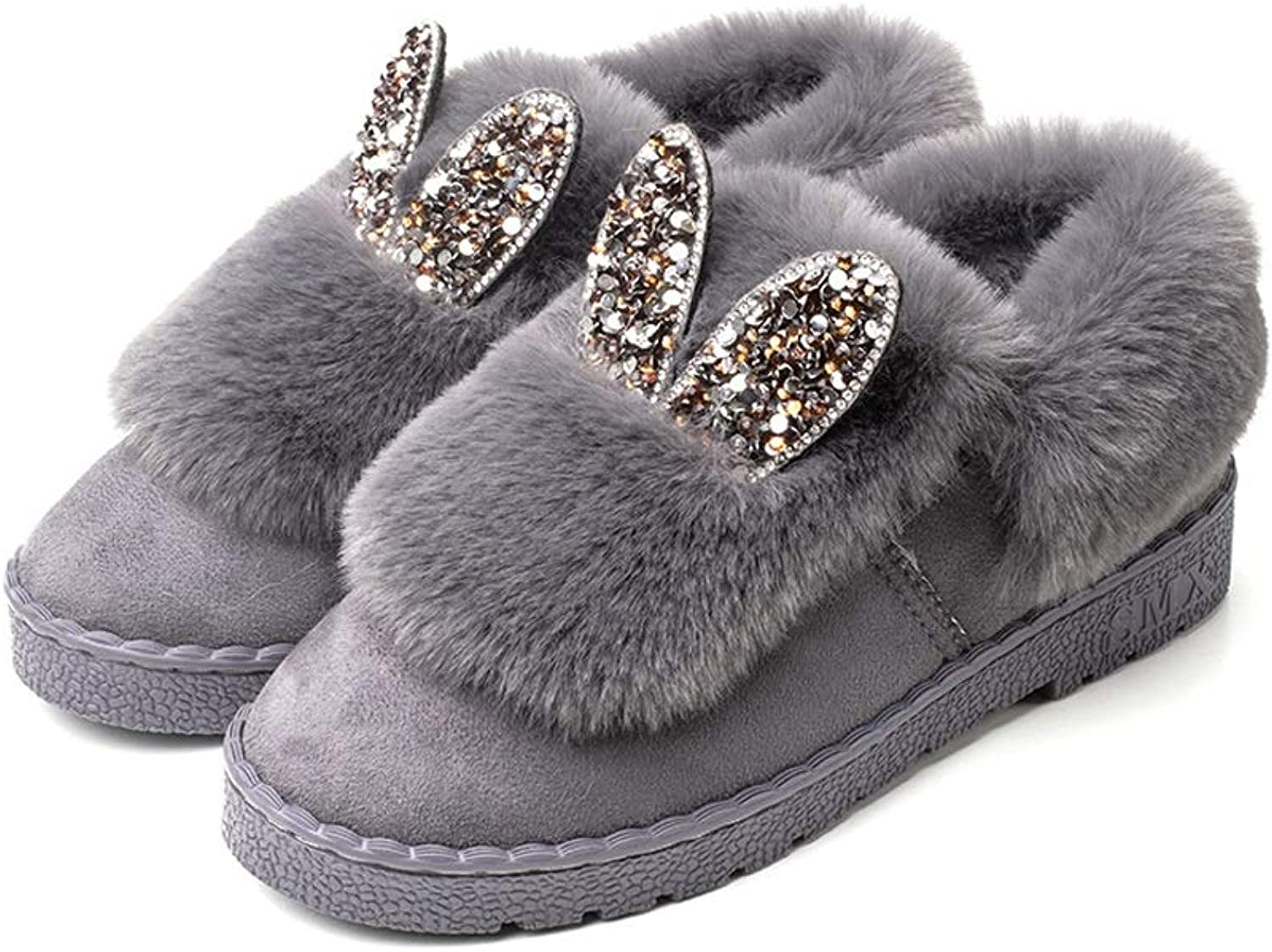 shoes, Cotton Slippers Womens Soft Cotton Boots All Inclusive Flat Heel Anti-Slip Winter House shoes Warm Artificial Fluff Indoor shoes