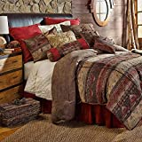 HiEnd Accents Sierra Lodge Chenille & Faux Suede Bedding Comforter Set, Queen, Red, Tan & Brown 7 PC