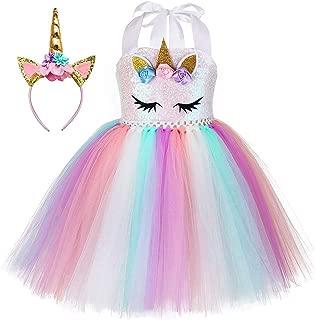 Unicorn Tutu Dress for Girls Birthday Party Dress Handmade Pastel Unicorn Costume Outfit with Headband