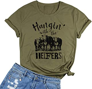 EGELEXY Hangin with The Heifers Letters Print T-Shirt Women's Funny Graphic Tees Cow Lover Gift Casual Tees Blouse