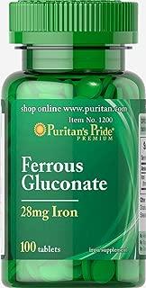 Puritan's Pride Ferrous Gluconate (28 mg Iron)-100 Tablets