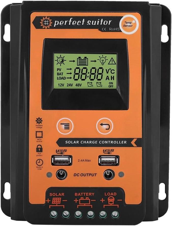 Regulador de batería,Controlador de carga solar 12V 24V 30A 50A MPPT Controlador de carga solar Panel solar Regulador de batería Dual USB Pantalla LCD
