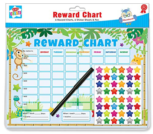 Kids Create 6 x Belohnungskarten für Kinder, Dschungel-Thema, mit Aufklebern und Stiften, A4