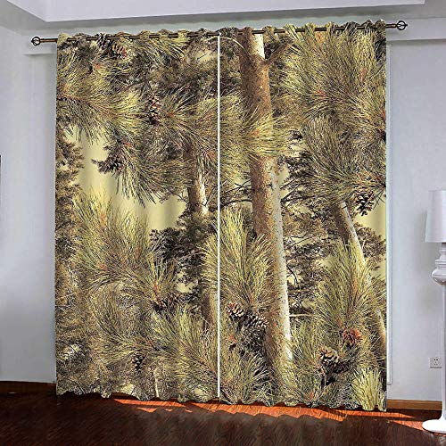 HANTAODG Eyelet verduisteringsgordijnen gele pruik patroon verduisteringsgordijnen 2 panelen set thermisch geïsoleerde raambehandeling massief oogje verduisterende gordijn slaapkamer kinderkamer 140 x 160 cm