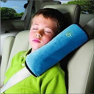 Ecloud Shop 枕头,汽车带套儿童,可调节汽车肩垫,?;さ?,柔软汽车带头枕支撑儿童婴儿 蓝色 YS93914