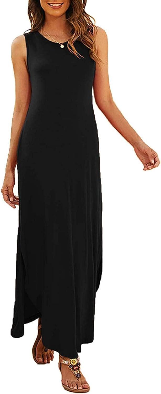 Masbird Dress for Women,Women's Casual Summer Sleeveless Dress Loose Split Maxi Dresses with Pockets