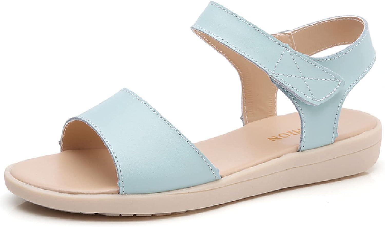 Btrada Women's Flat Sandals Casual Comfort Open Toe Hook & Loop Ankle Strap Summer Flats Ladies Beach Sandals Outdoor Shoes