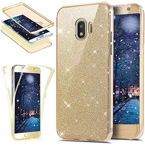 Coque Galaxy J2 Pro 2018,ikasus Intégral 360 Degres avant + arrière Full Body Protection Bling Brillant Glitter Transparent Silicone Gel Case Coque Housse Etui pour Galaxy J2 Pro 2018,Or
