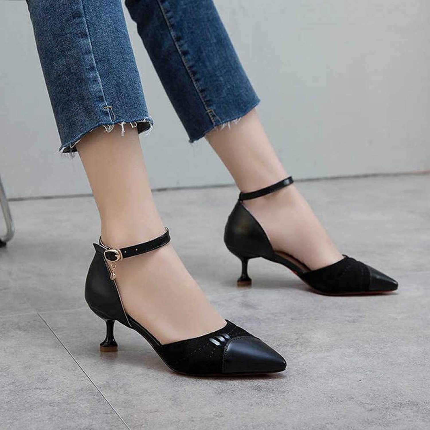UKJSNHH igh Heels 2019 Women Pumps Mid Heel Pump Ladies Pointed Toe Casual shoes Sandals High Heels Wedding shoes Sexy Pumps Buckle Strap