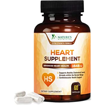Heart Support Supplement - Extra Strength Heart Health Support Vitamins - Made in USA - Natural Pills with CoQ10, Magnesium, and Powerful Nutrients for Men & Women - 60 Capsules
