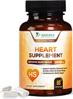 Heart Support Supplement - Extra Strength Heart Health Support Vitamins - Made in USA - Natural with CoQ10, Magnesium, and...