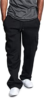 Men's Fleece Cargo Sweatpants Cargo Pant Casual Jogger Fitness Trackpants with Pockets Drawstring