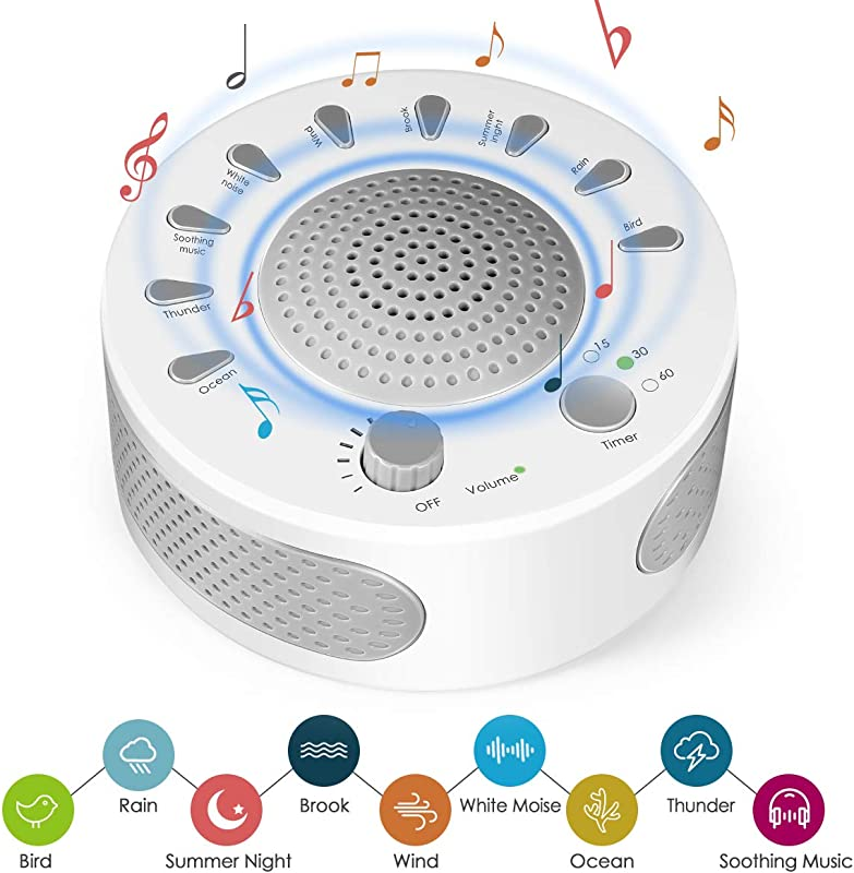 White Noise Machine High Fidelity Sound Machine For Sleeping Relaxation 9 Natural And Soothing Sounds Plug In Or Battery Powered Portable Sleep Sound Therapy For Home Office Or Travel