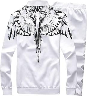 TUSANG Men 3D Print Angel Wings Sweatshirt Top Pants Sets Sport Leisure Fleece Suit Cardigan Tracksuit