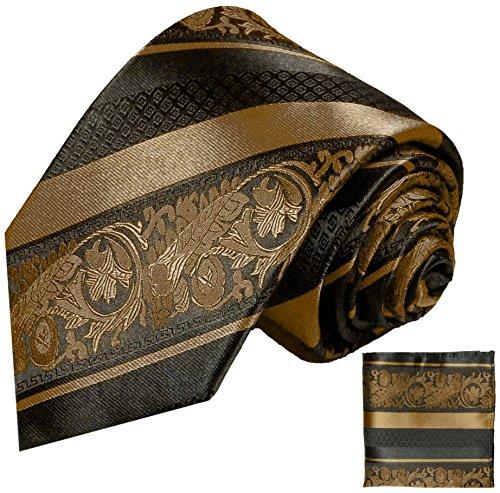 Paul Malone Krawatten Set 2tlg 100% Seidenkrawatte braun schwarz