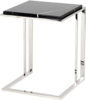 Black Marble Side Table | EICHHOLTZ Cocktail | Modern Sophisticated Contemporary Stylish Silver Accent Table Perfect for Living Kitchen nightstand