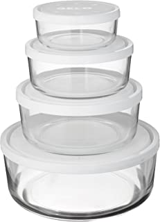Bormioli Rocco Gelo 4-Piece Set with White Lids