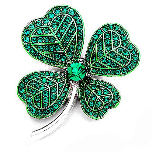 Joji Boutique Silver Shamrock/Clover Pin with Green Crystals