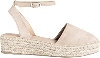 FISACE Womens Summer Espadrille Ankle Strap Platform Wedge Sandals Wave Rivet Closed Cap Toe Flat Shoes