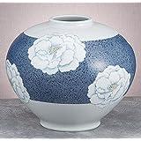 九谷焼 8.5号花瓶 釉描彩牡丹 :青良窯
