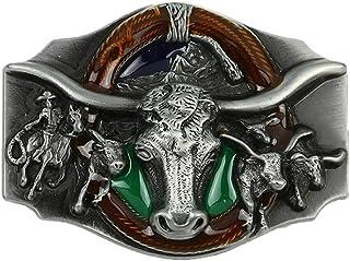 إكسسوار مشبك حزام رأس الثور للرجال بنمط رعاة البقر الغربي من شركة ويشاريل