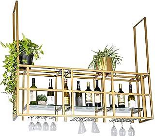 YZ-YUAN Porte-Bouteille de Haute qualité Porte-Verre à vin Suspendu Casier à vin Mural Porte-Bouteille et Verre Décoration...