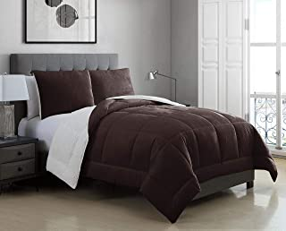 3 Piece Micromink Sherpa Silky Smooth Plush Oversized Chocolate Comforter Set King