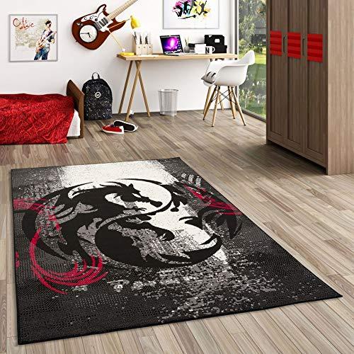 Pergamon Teppich Trendline Drachen Schwarz Rot Grau in 4 Größen