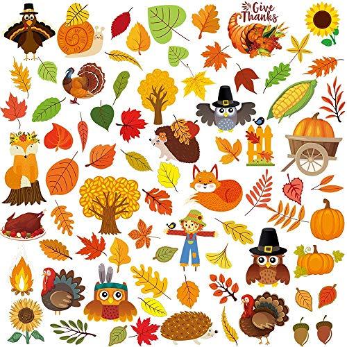 Winlyn 7 hojas 102 pegatinas para ventanas de Acción de Gracias con pavo, otoño, hoja de arce, calabaza, bellota, cornucopia de maíz indio para decoración de temporada