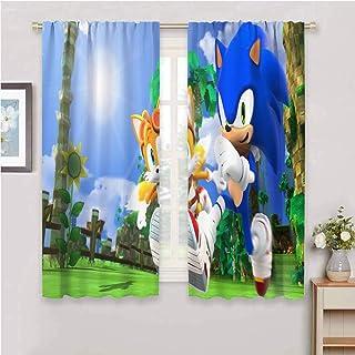 Zmcongz Cortinas sónicas para ventana para dormitorio, impresión de salón, decoración de oscurecimientos, Sonic The Hedgeh...