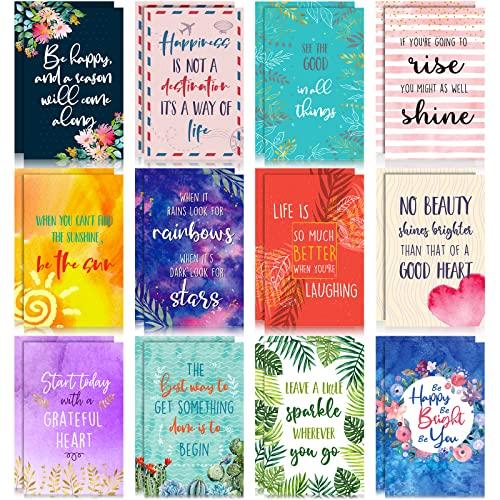 24 Blocs de Notas Pautados de Bolsillo Motivacionales Cuaderno Inspirador Colorido Mini Cuaderno Inspirador de Diario de Bolsillo Pequeño para Mujeres Niñas Escuela Oficina, 12 Estilos