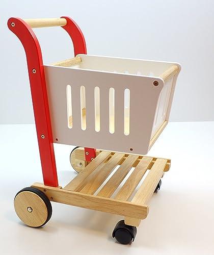 Unbekannt Einkaufswagen für den Kaufladen   Material  Hartholz   Farbe  holzfarbend, rot + Weißlackiert   Ma  40 x 42 x 58 cm   3+