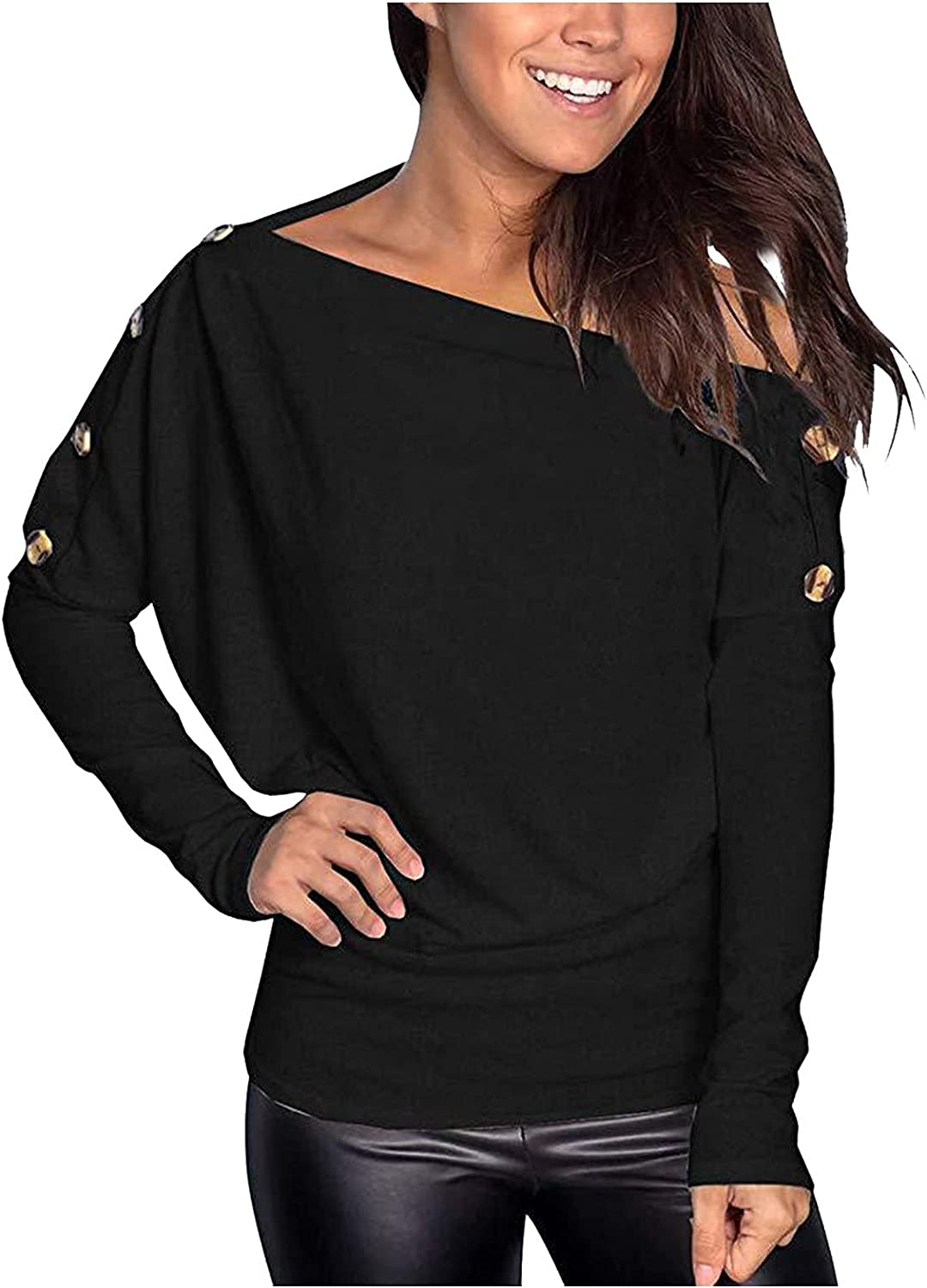 Womens Waffle Knit Tunic Tops Long Sleeve Loose Fitting Daily Casual Button Up Basic Henley Tops