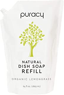 Sponsored Ad - Puracy Natural Dish Soap Refill, Organic Lemongrass, 64 Ounce, Skin-Friendly Liquid Detergent