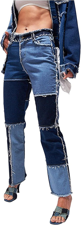 Fudule Y2K Fashion Jeans for Women, Teen Girls Patchwork Trousers Vintage Tassel Denim Pants Casual Baggy Wide Leg Pants
