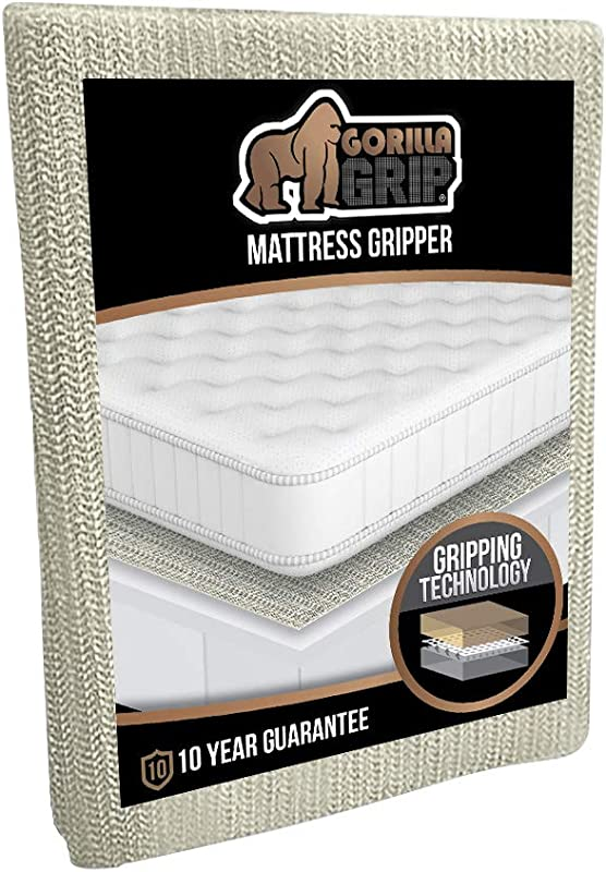 GORILLA GRIP Original Slip Resistant Mattress Gripper Pad Helps Stop Bed And Topper From Sliding Stopper Works On Sofa Futon And Couch Easy To Trim Size Strong Durable Grips Help Slipping King