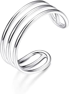 925 Sterling Silver Horizontal Double Triple Lines Open Rings Minimalist Simple Band for Women Adjustable Open Toe Ring Knuckle Rings Size 5-9