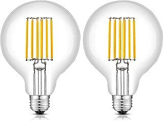 CRLight 8W Dimmable Edison LED Globe Bulb 80W Equivalent 800 Lumens, 2700K Warm White E26 Medium Base, Vintage G30 / G95 Clear Glass Globular LED Filament Light Bulbs, Pack of 2