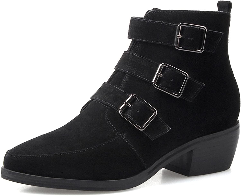 Nio Sju äkta läder Kvinnors spetsiga tå Chunky Heel Buckle Buckle Buckle Leopard Printed Ankle Booslips  online mode shopping