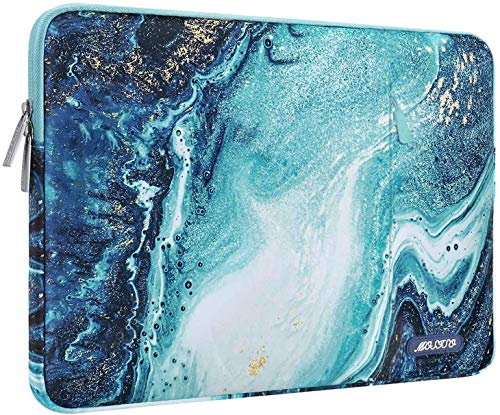 MOSISO Laptop Sleeve Compatible with 13-13.3 inch MacBook Pro, MacBook Air, Notebook Computer, Polyester Vertical Creative Wave Marble Bag with Pocket
