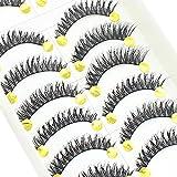 Bluelans 10 Pairs Long Cross False Eyelashes Fake Thick Black Eye Lashes Extension