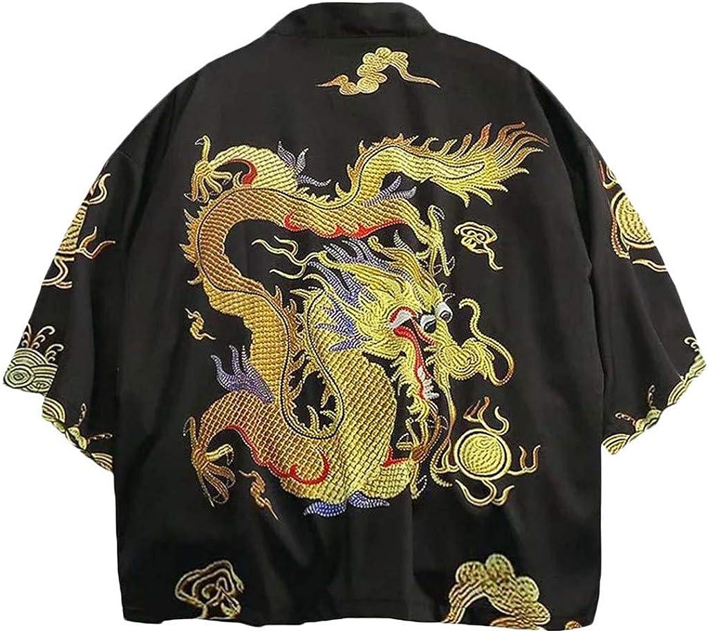 Dragon Kimono for Men, F_Gotal Men Kimono Chinese Painting Dragon Cardigan Cover Up Open Front Shawl Unisex Robe Coat