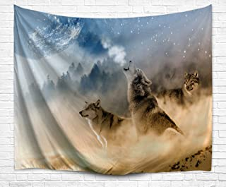 DENGYUE Howling Wolf Wall Tapestry, Three Musketeers Wolves in Desert Sandy Land Howling to Moon Wall Hanging Art Decors Tapestry for Bedroom Living Room