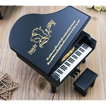 WooMax Caja de música diseño de la Bella y la Bestia, Color Negro, Caja Musical de Madera, cumpleaños o Navidad: Amazon.es: Hogar