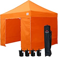 UNIQUECANOPY 10'x10' Ez Pop Up Canopy Tent Commercial Instant Shelter, with 4 Removable Zippered Side Walls and Heavy Duty Roller Bag, 4 Sand Bags Orange
