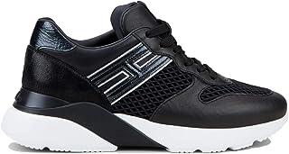 Hogan Scarpe da Donna Active One Sneakers Running Sportive HXW3850BF51O7Z0353 in Pelle Nero Argento Casual Tempo Libero Gi...
