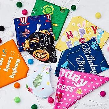 12 Bandana pour Chien de Vacances Bandana pour Chien de Noël Bandana pour Animaux de Compagnie du Nouvel an Écharpe Ajustable de la Saint-Valentin Triangle d'Été Lavable pour Chien (S)