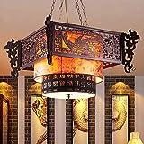 Lampadario da interno Lampadario in stile cinese Lampadario in legno antico di pelle di pecora Hotel Ristorante Sala da tè Lampadario di illuminazione Cina Drago del vento Invia benedizione