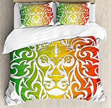 Juego de sábanas Rasta de 3 piezas Juego de funda nórdica, Retrato de león en colores vivos Imagen Headof Jungle, Juego de fundas de edredón / edredón de 3 piezas con 2 fundas de almohada, Verde helec