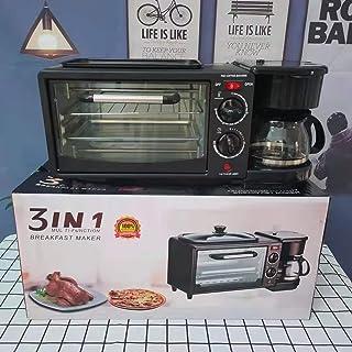 Four électrique multifonctionnel 3-en-1, grille-pain, cafetière, grille-pain, machine à petit-déjeuner, grill, jusqu'à 640...